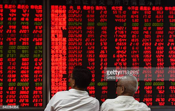 Investors monitor stock price movements at a securities company in Beijing on June 15 2016 China on June 15 brushed off stock index firm MSCI's...