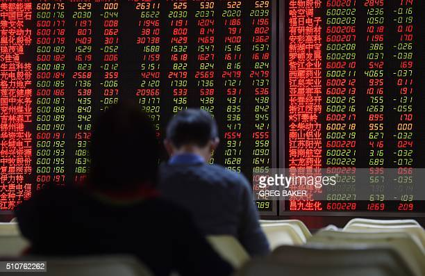 Investors watch stock movements on a screen at a securities company in Beijing on February 17 2016 The Shanghai market rose more than one percent on...