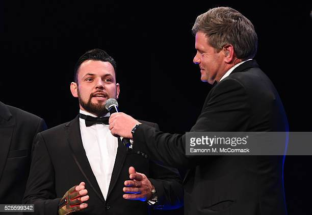 Invictus Games athlete Paul Vice talks to Mark DurdenSmith on stage at the BT Sport Industry Awards 2016 at Battersea Evolution on April 28 2016 in...