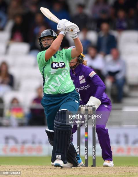 Invincibles batter Dane Van Niekerk hits out during The Hundred match between Northern Superchargers Women and Oval Invincibles Women at Emerald...