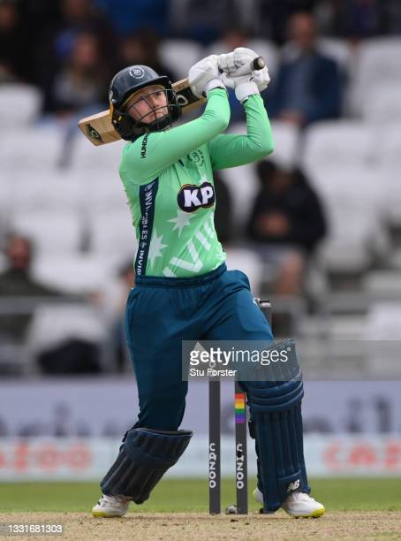 Invincibles batter Fran Wilson hits out during The Hundred match between Northern Superchargers Women and Oval Invincibles Women at Emerald...