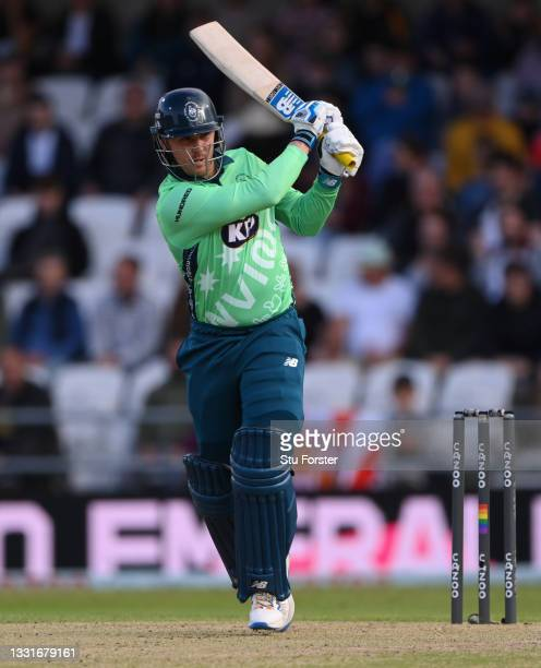 Invincibles batter Jason Roy hits out during The Hundred match between Northern Superchargers Men and Oval Invincibles Men at Emerald Headingley...