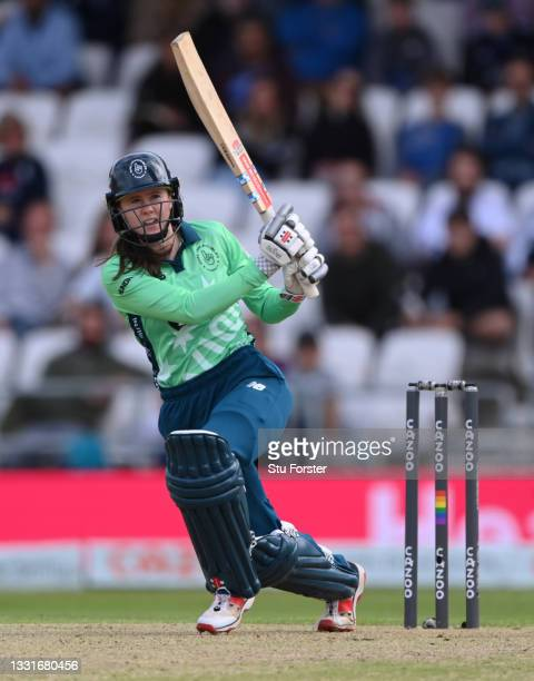 Invincibles batter Sarah Bryce hits out during The Hundred match between Northern Superchargers Women and Oval Invincibles Women at Emerald...