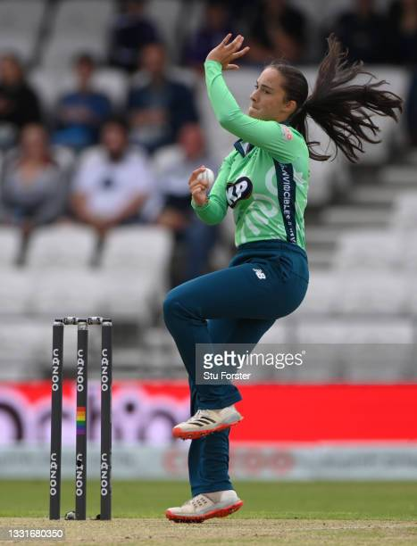 Invincibles bowler Alice Capsey in bowling action during The Hundred match between Northern Superchargers Women and Oval Invincibles Women at Emerald...