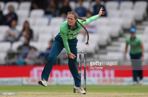 Invincibles bowler Dani Gregory in bowling action during The Hundred match between Northern Superchargers Women and Oval Invincibles Women at Emerald...
