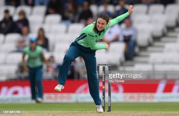 Invincibles bowler Mady Villers in bowling action during The Hundred match between Northern Superchargers Women and Oval Invincibles Women at Emerald...