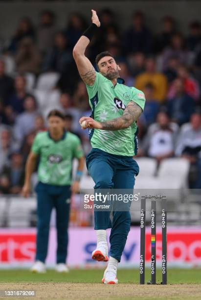 Invincibles bowler Reece Topley in action during The Hundred match between Northern Superchargers Men and Oval Invincibles Men at Emerald Headingley...