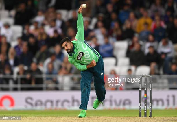 Invincibles bowler Tabraiz Shamsi in action during The Hundred match between Northern Superchargers Men and Oval Invincibles Men at Emerald...
