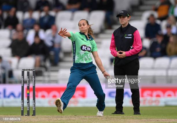 Invincibles bowler Tash Farrant in bowling action during The Hundred match between Northern Superchargers Women and Oval Invincibles Women at Emerald...