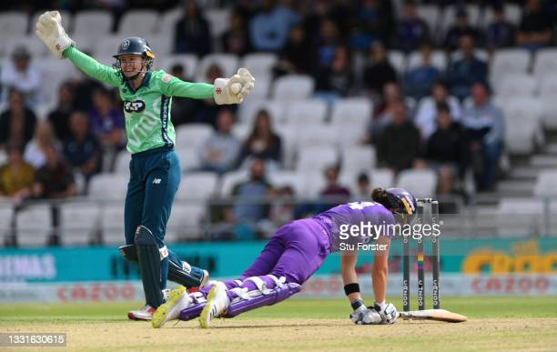 Invincibles wicketkeeper Sarah Bryce appeals with success after catching out Laura Wolvaardt for 14 runs during The Hundred match between Northern...