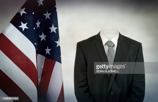 invisible man and american flag - presidentskandidaat stockfoto's en -beelden