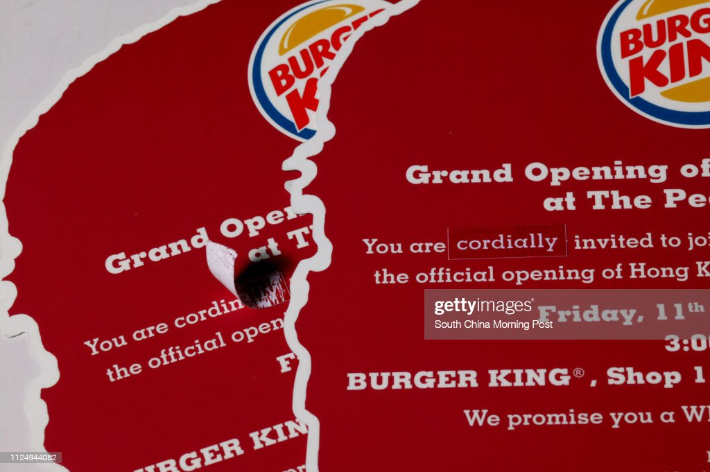 Invitation for the Peak Tower's Burger King opening Aug  11