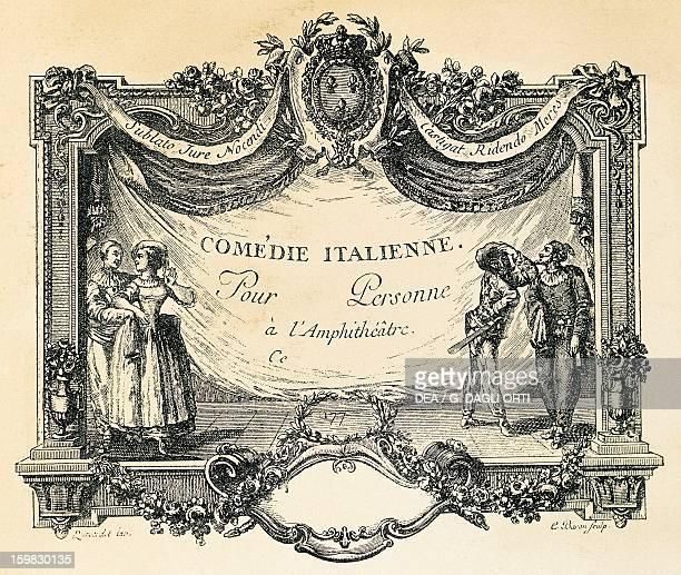 Invitation to Comedie Italienne in Paris engraving by Queverdot France 18th century Paris Bibliothèque Des Arts Decoratifs