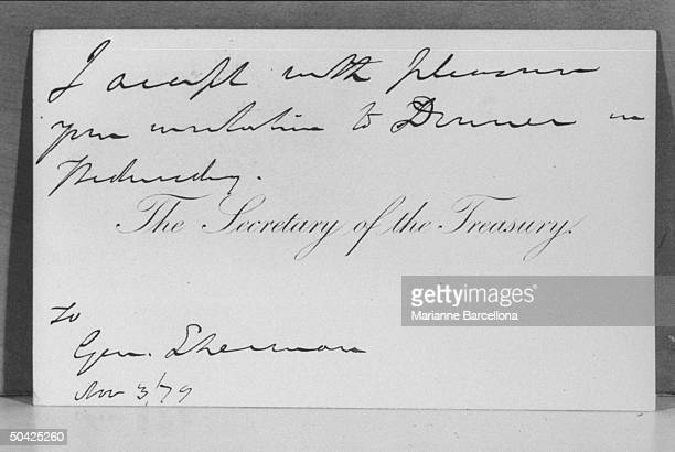 Invitation to dinner by the then Secretary of Treasury to Gen William Tecumseh Sherman of Civil War fame in the collection of greatgrandson William T...
