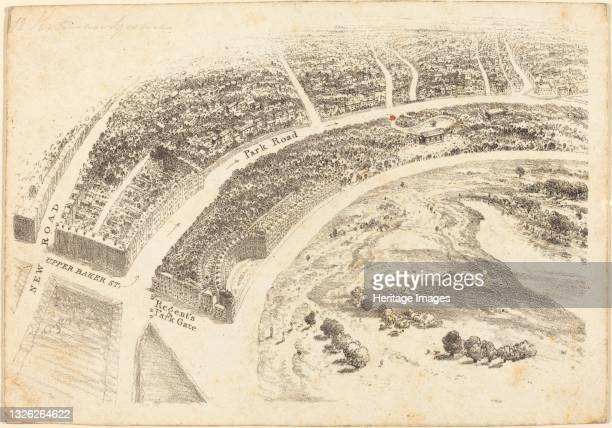 Invitation? with Aerial View of Regent's Park, 1824. Artist Unknown.