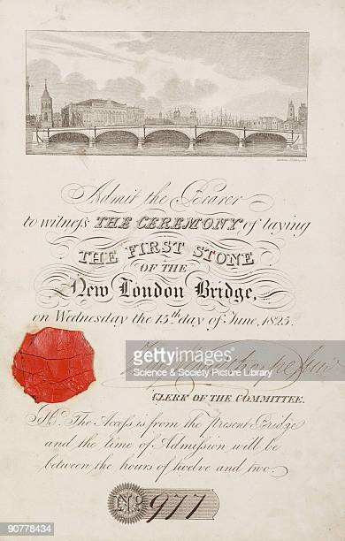 Invitation with engraved illustration of the proposed bridge Civil engineer John Rennie was commissioned to build a new crossing next to the existing...