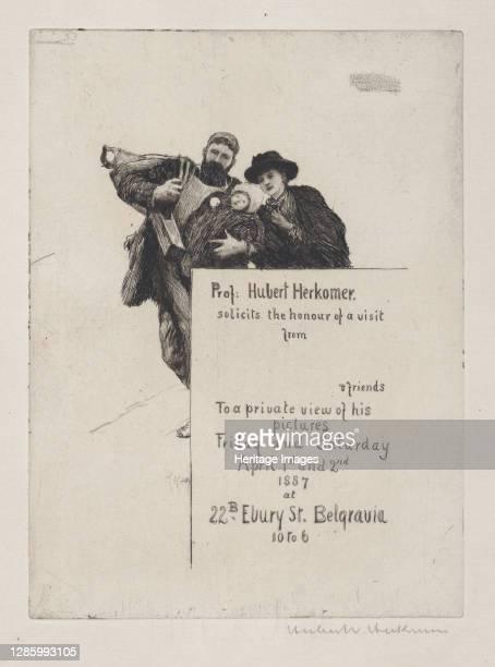 """Invitation with vignette from """"The First Born"""" , 1887. Artist Hubert von Herkomer."""