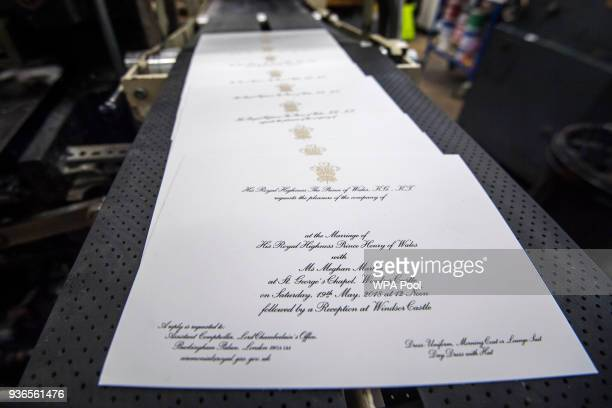 Invitations are printed at the workshop of Barnard and Westwood for Prince Harry and Meghan Markle's wedding on March 22 2018 in London England The...