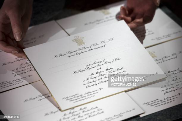 Invitations for the wedding of Britain's Prince Harry and US actress Meghan Markle are pictured after they have been printed at the workshop of...