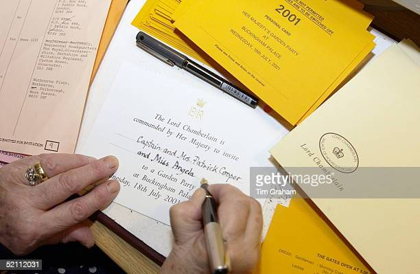 Invitations To The Buckingham Palace Garden Party Being Written By The Head Of The Garden Party Office, Mrs Patricia Simmonds - Around 10,000...