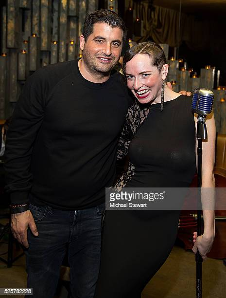 Invite Only owner Chris Reda and singer Bella Tonic attend the Invite Only grand opening at Invite Only on April 28 2016 in New York City