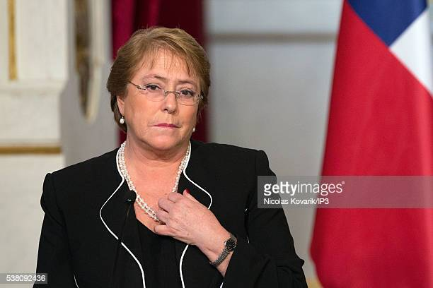 Invited by the French President Francois Hollande the President of Chile Michelle Bachelet speaks during a press conference on the occasion of the...