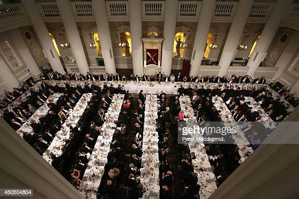 Invited guests listen to the speakers during the 'Lord Mayor's Dinner to the Bankers and Merchants of the City of London' at the Mansion House on...