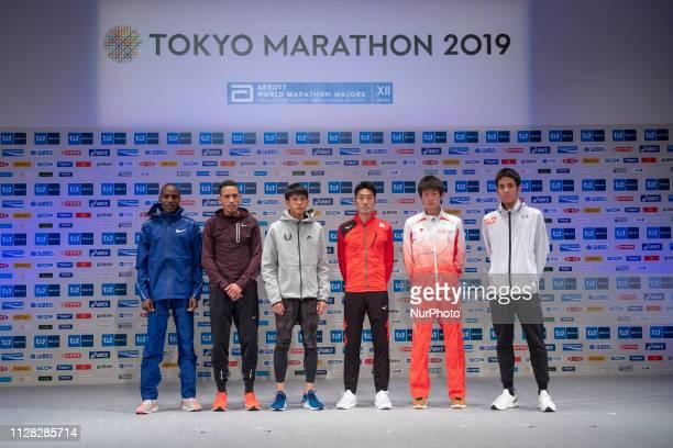 invited runners Kenya's Dicson Chumba Bahrain's El Hassan El Abbassi Suguru OsakoRyo Kiname Shogo Nakamura and Yuki Sato pose for a photograph in...