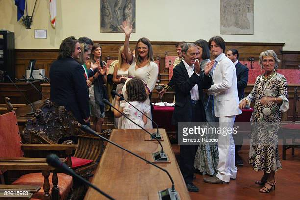 Invitees attend the wedding of Asia Argento and Michele Civetta/ gets married on August 27, 2008 in Arezzo, Italy.