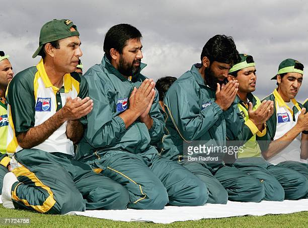 Inzamam ul-Haq prays with his team mates before net practice before the Natwest International Twenty20 match at The County Ground, Bristol on August...