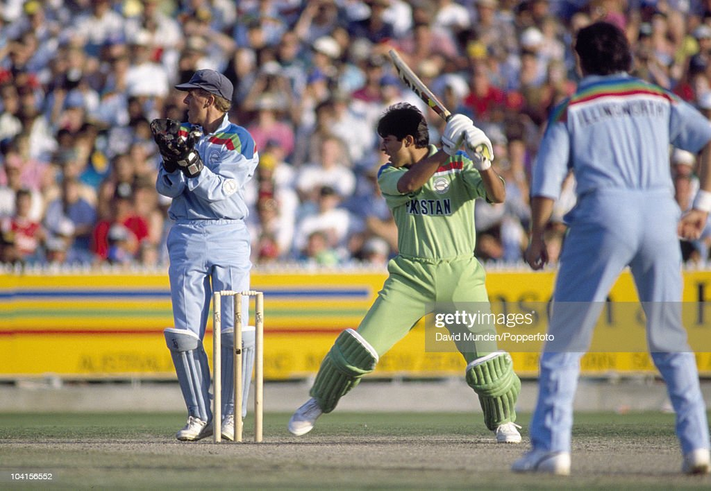 Inzamam-ul-Haq batting during his innings of 72 runs for Pakistan in the World Cup Final between Pakistan and England at the Melbourne Cricket Ground, 25th March 1992. The England wicketkeeper is Alec Stewart. Pakistan won by 22 runs.