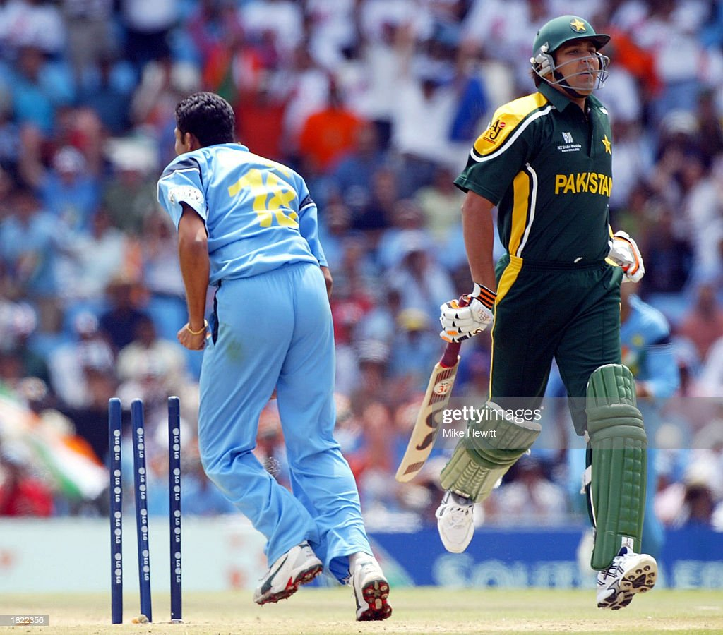 Inzamam-Ul-Haq of Pakistan is run out by a country mile by Anil Kumble of India during the ICC Cricket World Cup match between India and Pakistan at the Supersport Stadium in Centurion, South Africa on M arch 1, 2003.