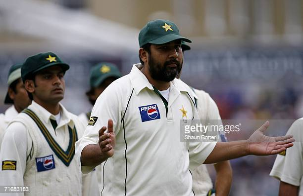 InzamamulHaq of Pakistan looks on after leading his players out during day four of the fourth npower test match between England and Pakistan at the...