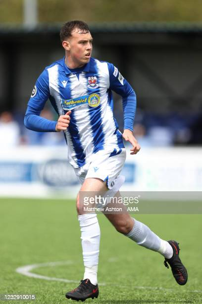 Ioan Emanuel of Penybont FC during the Cymru Welsh Premier League match between Penybont and Connah's Quay Nomads at The SDM Glass Stadium on May 15,...