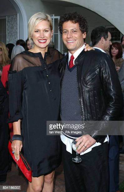 Ioan Gruffudd and Alice Evans are seen at a champagne reception to honor the British nominees of the 80th Annual Academy Awards The reception was...