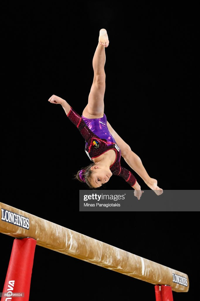 Ioana Crisan of Romania competes on the balance beam during the women's individual all-around final of the Artistic Gymnastics World Championships on October 6, 2017 at Olympic Stadium in Montreal, Canada.