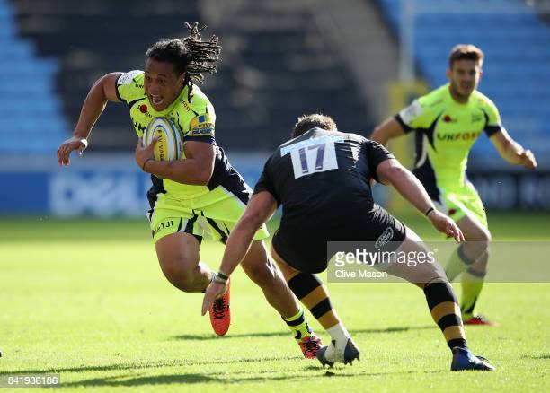 Ioane of Sale Sharks in action during the Aviva Premiership match between Wasps and Sale Sharks at The Ricoh Arena on September 2 2017 in Coventry...