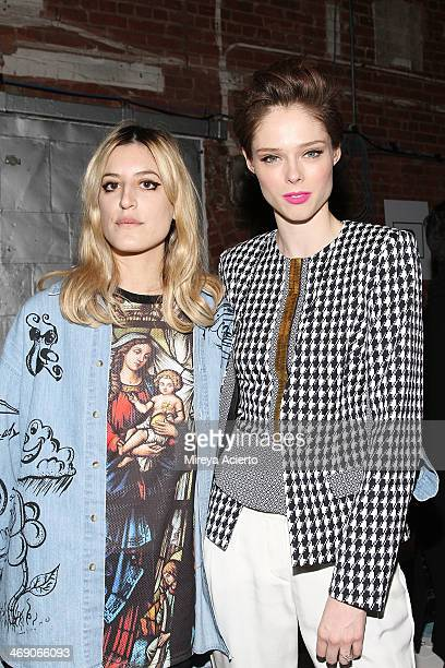 Ioanna Gika and Coco Rocha attend the Sass Bide fashion show during MercedesBenz Fashion Week Fall 2014 at The Waterfront on February 12 2014 in New...