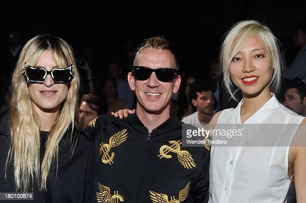 Ioanna Gika Jeremy Scott Soo Joo Park and Joe Manganiello attends the Y3 show during Spring 2014 MercedesBenz Fashion Week at Skylight at Moynihan...