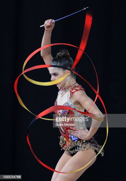 Ioanna Magopolou of Greece competes in ribbon in Multidiscipline Team Event Final during Day 4 of Buenos Aires 2018 Youth Olympic Games at America...