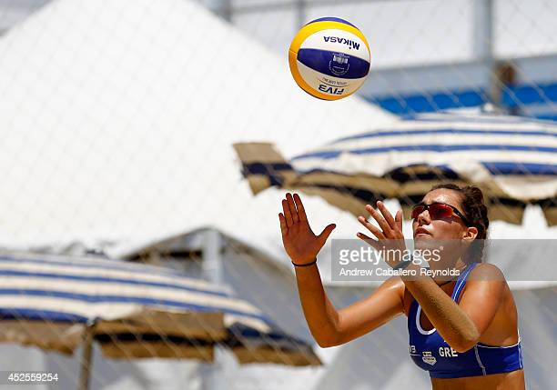 Ioanna Parisaki from Greece prepares to serve at the FIVB Under 21 Beach Vollyball World Championships on July 23 2014 in Larnaca Cyprus