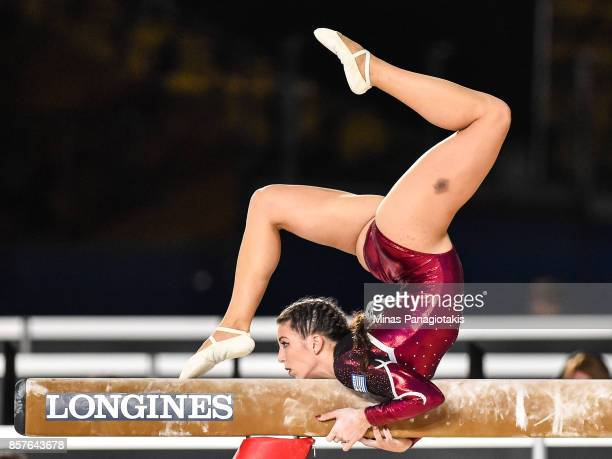 Ioanna Xoulogi of Greece competes on the balance beam during the qualification round of the Artistic Gymnastics World Championships on October 4 2017...