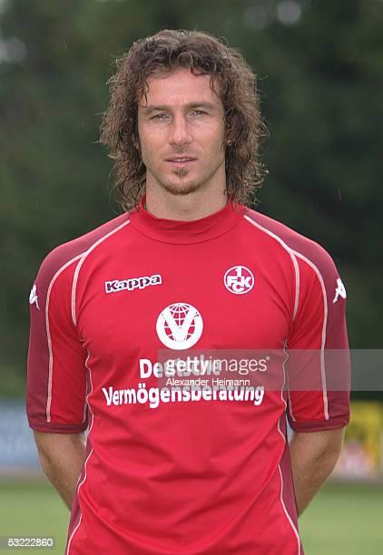 Ioannis Amanatidis looks in the camera during the team presentation of 1FC Kaiserslautern for the Bundesliga season 2005 2006 on July 10 2005 in...