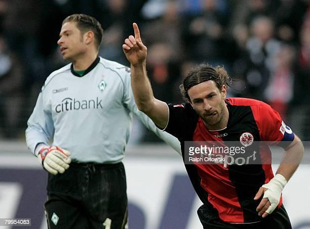 Ioannis Amanatidis of Eintracht Frankfurt celebrates his goal against Werder Bremen during the Bundesliga match between Eintracht Frankfurt and...