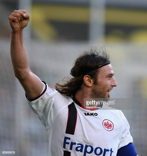 Ioannis Amanatidis of Frankfurt celebrates after scoring the first goal during the Bundesliga match between VfL Wolfsburg and Eintracht Frankfurt at...