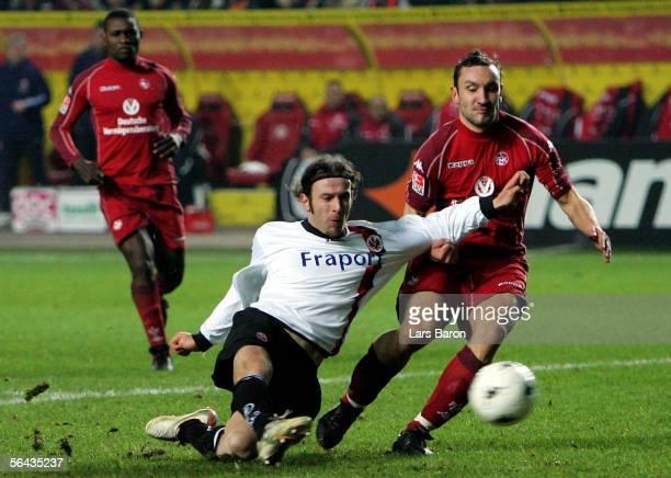 Ioannis Amanatidis of Frankfurt shoots on goal during the Bundesliga match between 1FC Kaiserslautern and Eintracht Frankfurt at the...