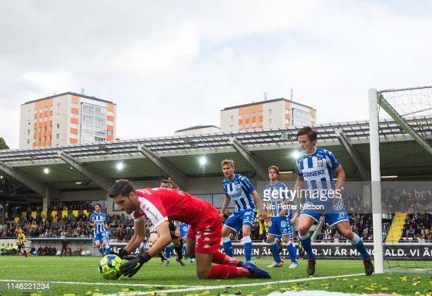 Ioannis Anestis of IFK Goteborg makes a save during the Allsvenskan match between BK Hacken and IFK Goteborg at Bravida Arena on May 25 2019 in...