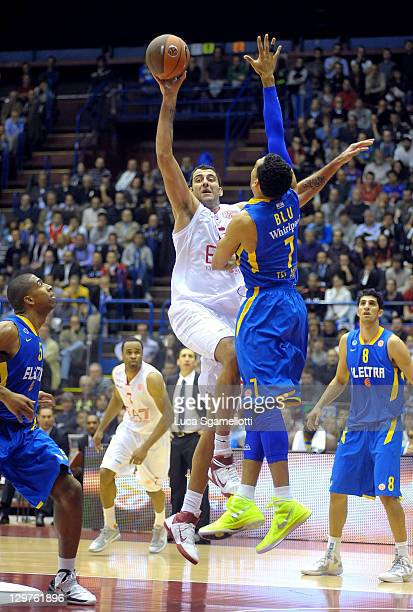 Ioannis Bourousis #15 of EA7 Emporio Armani Milan in action during the 20112012 Turkish Airlines Euroleague Regular Season Game Day 1 between EA7...
