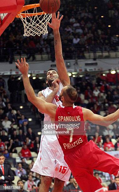 Ioannis Bourousis #15 of EA7 Emporio Armani Milano in action during the 20122013 Turkish Airlines Euroleague Regular Season Game Day 10 between...