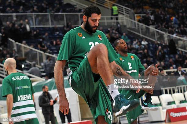 Ioannis Bourousis #29 of Panathinaikos Superfoods Athens warm up during the 2016/2017 Turkish Airlines EuroLeague Regular Season Round 12 game...